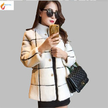 2017 New Autumn Winter Coat Women Medium Long Fur One Artificial Fur Coat Leisure Loose Keep Warm grid Lambs Wool Coat G1649