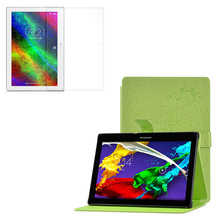 "1 * Clear Film, Print Stand PU Leather Case Magnetic Flip Shell Cover For Lenovo Tab 2 A10-70F A10-70L A10-70LC 10.1"" Tablet"