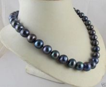 "Women Gift word Love real real@@@@@9--10MM BLACK TAHITIAN PEARL NECKLACE 18"" african beads silver indian dubai(China)"