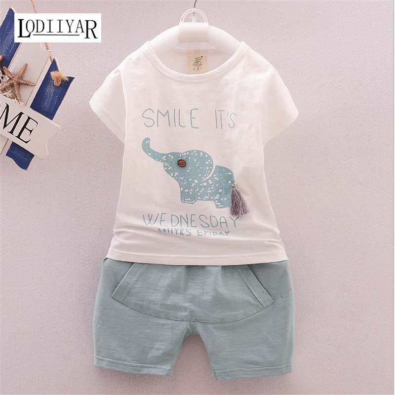 2017 Toddler Boys Girls Clothing Children Summer Boys Clothes Cartoon Animal Elephant Kids Boys Clothing Set T-shit +Pants <br><br>Aliexpress