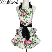 XiuMood Fashion White Rose Print Cotton Canvas Kitchen Apron Dress With Pocket