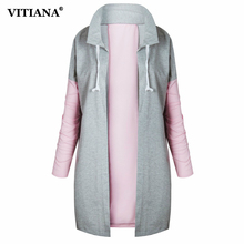 VITIANA Women Long coat Female 2017 Autumn Black Pink Long sleeve Jackets Casual Outerwear Loose Tops Hoodies Sweatshirt(China)
