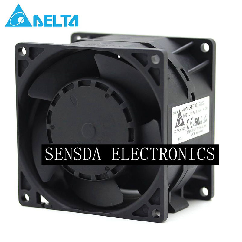 Delta GFC0812DS car booster blower motor fuel modification powerful dual 80mm 8056 2.6A DC 12V 80*80*55mm<br>