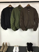 Newest High Street Winter 2017 Kanye West Heavy Weight Bomber Jacket Mens Army Green Ruched Sleeve Relaxed Fit Baseball Coats