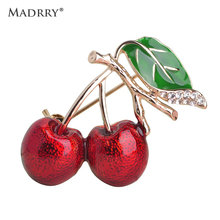 Madrry Enamel Vivid Red Cherry Brooches For Girl Kids Cute Fruit Broches Hijab Scarf Pins Dress Hat Sweater Clip Bijoux Jewelry(China)