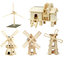 2017 Wooden Solar Energy Powered 3D Windmill Waterwheel DIY Puzzle Jigsaw Building Block Educational Toy Gift for Kid Child(China)