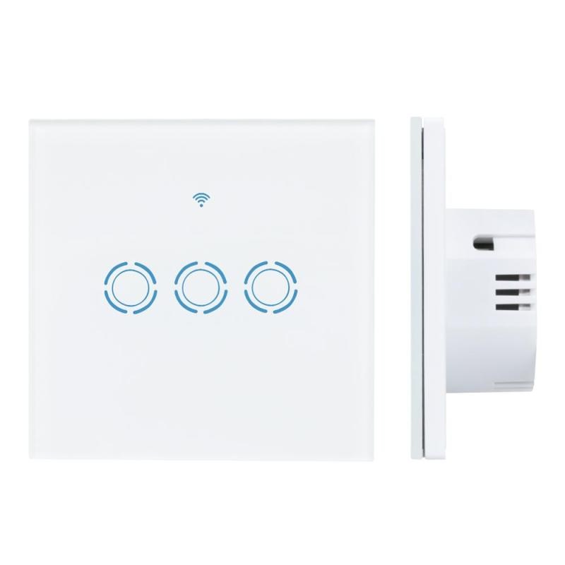 WiFi Smart Switch 3 Gang Wall Switch Luxury Crystal Glass Touch Panel Remote Control Switch for IOS Android Smartphone EU Plug<br>