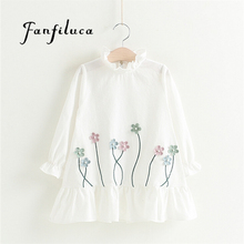 Fanfiluca Kids Dresses For Girls New Summer Casual Style Lovely Small Fresh Flowers Girl Dress Children Kids Clothes(China)