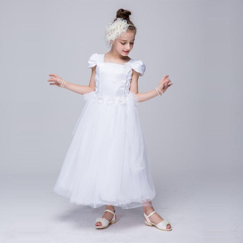 High Quality Long Style Short Sleeve Princess Girls Petal Elegant Christening Flowers Decor Solid Color Lovely Formal Dress<br><br>Aliexpress