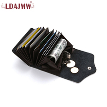Buy LDAJMW RFID Blocking Genuine Leather Wallet Slim Antimagnetic Small Money Clips Coin Pocket ID Card Holder Clutch Wallets for $5.26 in AliExpress store