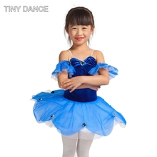 Classical blue ballet dance tutus child stage costumes for ballet dancing performance dress ballet dance tutu kids 15306(China)
