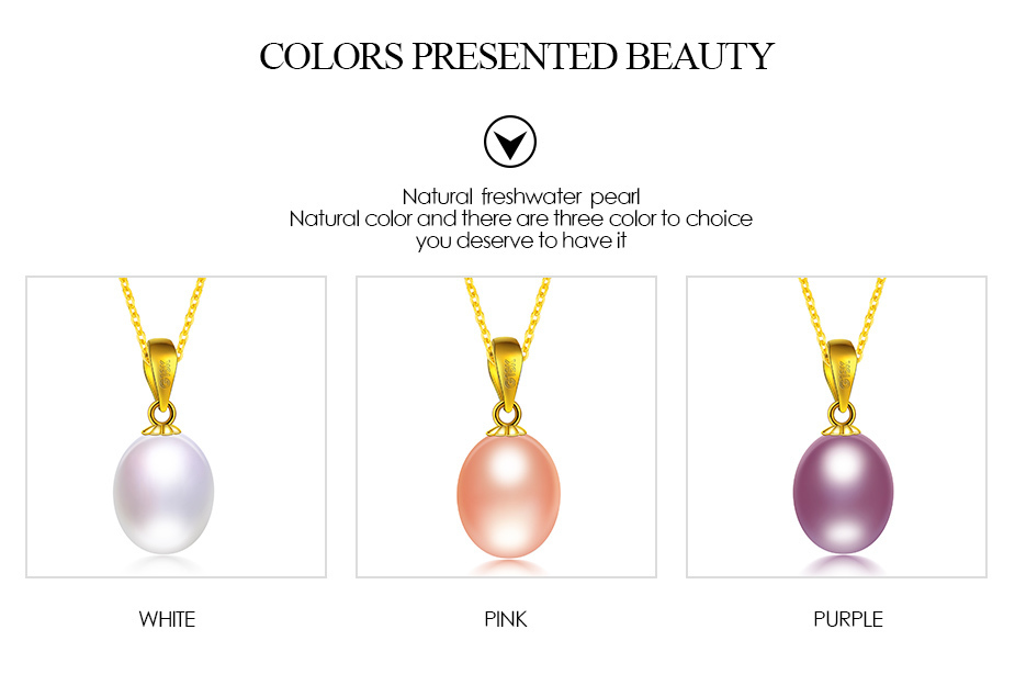 Dainashi noble and luxurious 18K gold real natural white/pink/purple pearl pendants with chain fine jewelry for women gifts