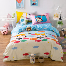 "100% cotton fishes and cat 4 Pce 78""x90"" Duvet Doona Cover Set by flat sheet pillowcase/kids bedding set QUEEN(China)"