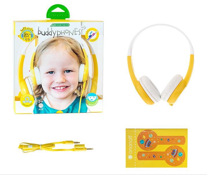 ONANOFF BuddyPhones Explore Children Kids Headsets Anti-Allergy Safety Volume Limiting Headphones Mic Study Listening Earphone<br>