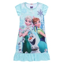 2016 New Summer Kids Elsa Cinderella Dresses For Girls Vintage Baby Dress Snow Queen Anna Party Princess Clothes Nightgown(China)