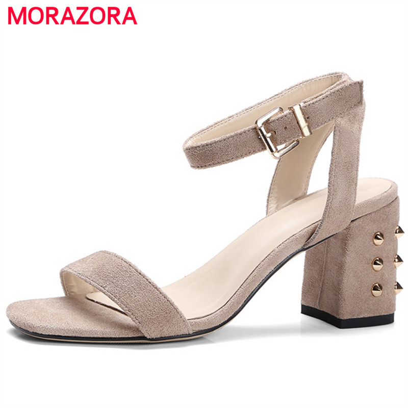 MORAZORA Open-toed high heels shoes flock rivets buckle summer shoes fashion sexy lady party shoes woman sandals big size 34-43<br>