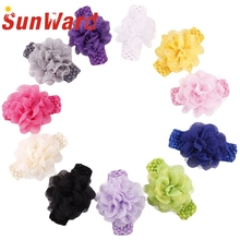 Chiffon Multicolor Flower Elastic Headbands girl hair accessories headband cute hair band newborn floral headband WJul26