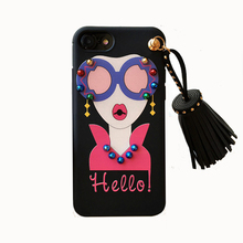 2017 Fashion hot sexy girl lips sunglasses pearl necklace diamonds metal rivet tassel lanyard pendant luxury tpu case For Iphone