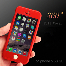 360 Degree Full Protective Case For Apple iPhone 5 5S SE 6S 6 7 Plus Phone Bags PC Back Cover Coque +Tempered Glass