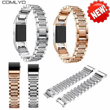 HOT NEW Stainless steel with diamond design wrist bands for fitbit charge 2 band bracelet watch banda belt fits for 135-245mm