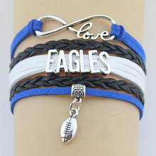 Drop Shipping Infinity Love Eagles Football Player Bracelet Bangles Handmade Leather Braid Charm Bracelet Custom Any Themes(China)