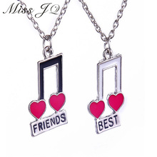 New Design 2016 European and American Fashion Jewelry Best Friends Enamel Red Heart Musical Notes Pendant Necklaces Gifts