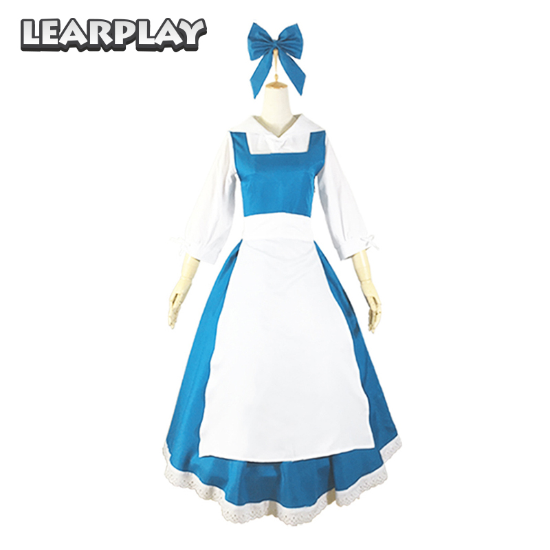 Beauty and the Beast Princess Adult Dress Women Belle Maid Cosplay Costume Halloween Christmas Dance Party Fancy Blue Dresses