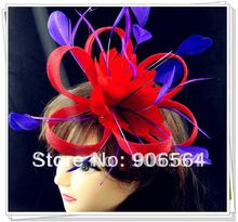 Free shipping red fascinators with purple feather decoration high quality sinamay fascinator hats great cocktail hats MSF125