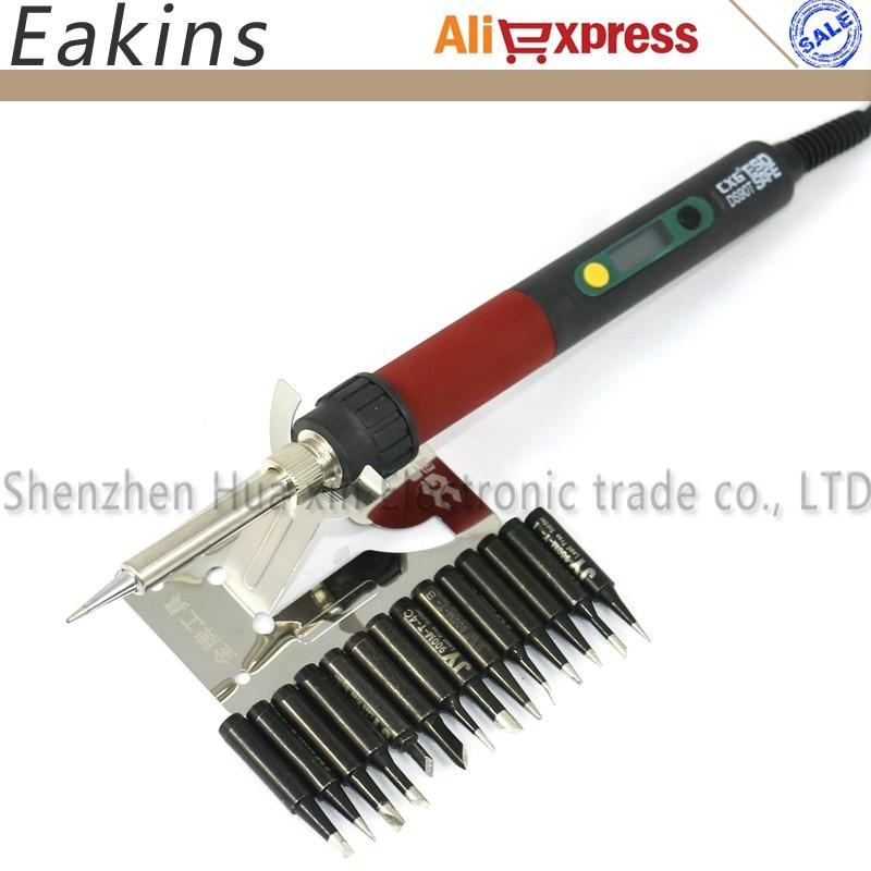 EU Plug Dormancy function welding tool Digital LCD Adjustable electric soldering iron 220V 90W +14/pcs 900M solder tip <br>