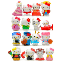 16pcs/set Mini Hello Kitty Figures Anime Cartoon Hello Kitty Pose Kimono PVC Action Figures Toys KT Cat Minifigures Model Toy(China)