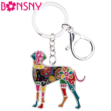 Bonsny Enamel Alloy Great Dane Dog Key Chain Key Ring Bag HandBag Charm Keychain Accessories New Fashion Jewelry For Women(China)