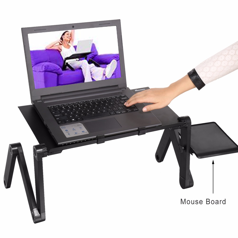 Homdox Computer Desk Portable Adjustable Foldable Laptop Notebook Lap PC Folding Desk Table Vented Stand Bed Tray N20*(China)