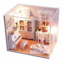 Hoomeda DIY Wood Dollhouse Miniature Piano Doll house With LED+Furniture+Cover Assembling Handworked Toys for Children
