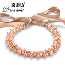 [Dainahsi] Fine Real Pearl Neckalce For Women High Quality Ribbon Real Natural Freshwater Pearl for Wedding In Gift Box(China)