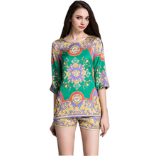 Hot Selling Fashion Women Summer Runway Casual 2 Pieces Set Long Blouse Shorts Printed Twin Set Green Outfit Retro Tracksuits(China)