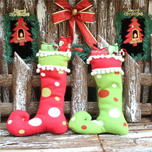 Lovely Large Size Felt Christmas Stocking Elf Foot Xmas Decoration Ornaments Socks Santa Claus Gift Candy Bags For Children(China)
