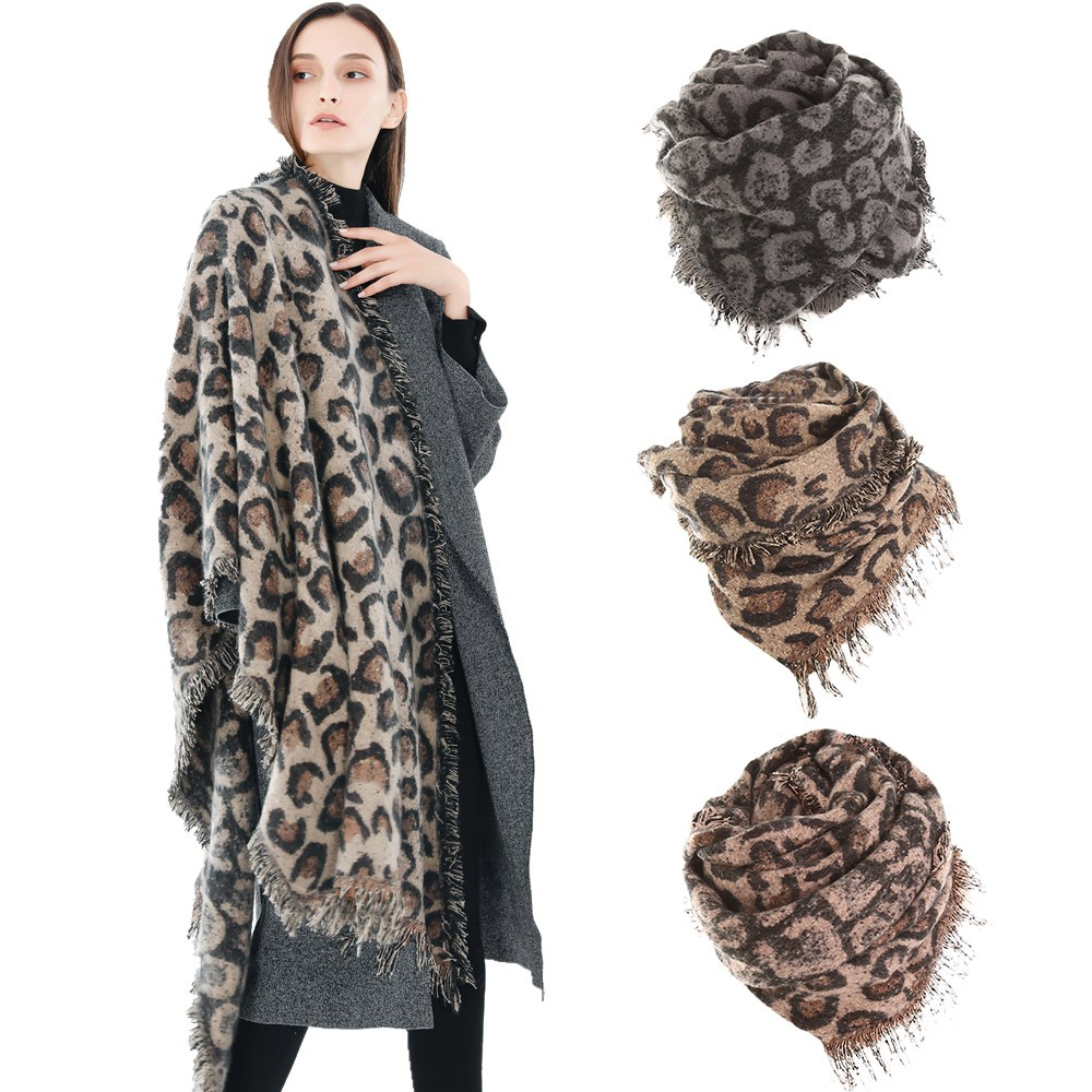 220X65cm 2018 Women Winter Thick Leopard Tassel Cashmere Soft Long Scarf Shawl Wrap Cover Cashmere Cape Gift dropshiping