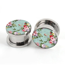 Pair of Floral Stainless plug gauges stainless steel screw fit ear plugs flesh tunnel ear expander SPP031(China)
