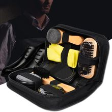 Fashion Men Shoes Cleaning Kit With Box Wooden Handle Brushes Shoe Shine Polish Portable Travel Leather Care Smooth Tool Hogard(China)