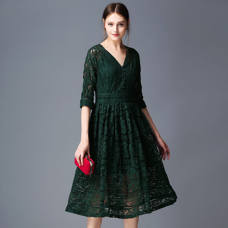 FLEAP dack green black lace women sexy dress solid hollow club v-neck lace S M L XL flower embroidery dress