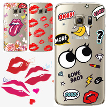 New Design Cell Phone Cases For Samsung Galaxy S7 Red Lip Lipstick Pattern Soft TPU Phone Back Cover Capinha Coque