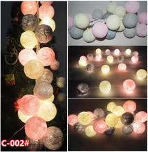 20pcs/set-Vintage sweet Pastel Gray- pink- cream mixed Cotton Ball Patio Party String Lights,Fairy, Wedding,xmas,valentine Decor(China)