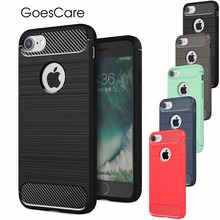 Luxury Hybrid Shockproof Carbon Fiber Texture Brushed  Soft TPU Silicon Case  For iPhone 6 6S 7 7 Plus 5 5S Bumper Back Cover