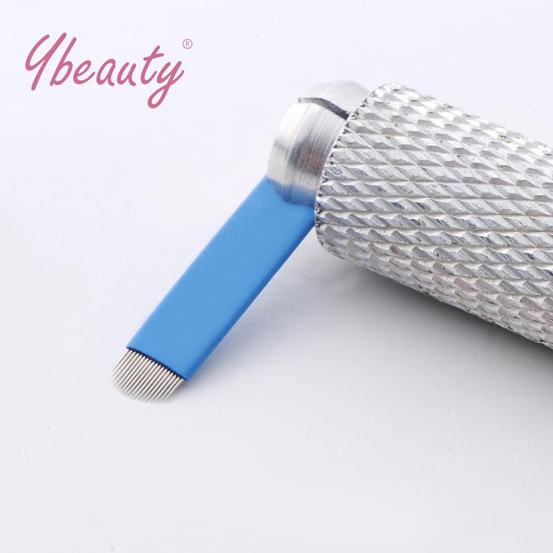 Hot 50pcs 18 u needles Shape Permanent Makeup Eyebrow Embroidery Blades For 3D Microblading Manual Tattoo Needles 16