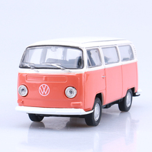 Gift for boy 1:36 New cool Welly Volkswagen 1972 T2 bus delicacy alloy model pull back home collection children birthday toy