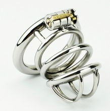 Buy New Lock Design Male Chastity Device Stainless Steel Chastity Cage Metal Penis Lock Cock Ring Men Chastity Belt