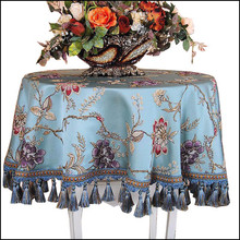PanlongHomeEuropean Style Blue Embroidered Tablecloth Custom Square/Rectangular/Oval Tablecloth Decorative High-end Hanging Lace(China)