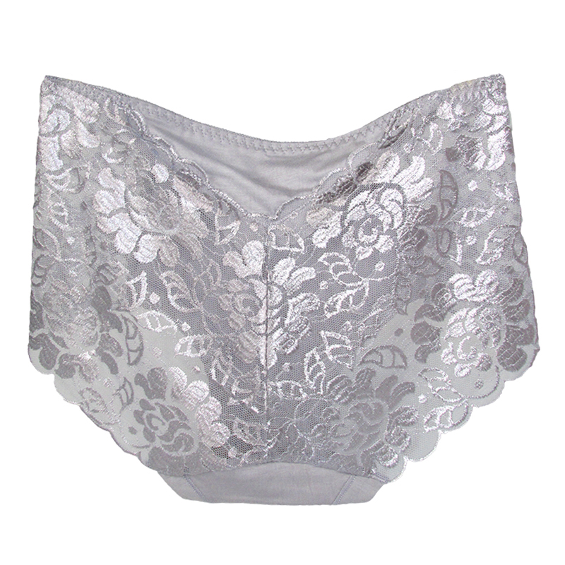 Women's Cotton Underwear, Seamless Briefs, Sexy Panties, Full Transparent Lace 17