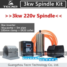 3KW Spindle Kit 3KW 220V 100MM CNC Router Water Cooled Spindle Motor +3KW VFD+100MM clamp+100W water pump/pipe+13pcs ER20