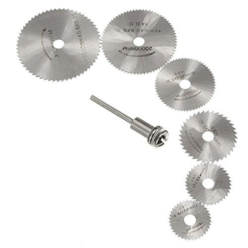 7pcs Rotary Tools Circular Saw Blades Cutting Discs Set High Quality Drill Mandrel Cutoff Cutter Power Tools Multitool